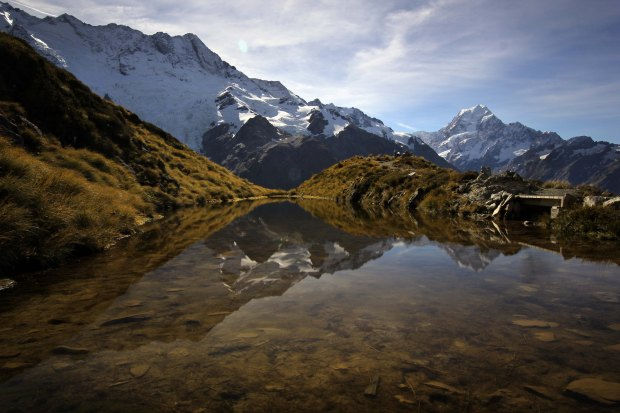 Mount Sefton and Mount Cook reflected in the Sealy Tarns