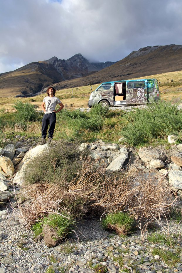 Nat and the van by the mountains