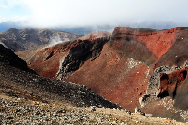 The red crater and steam vents