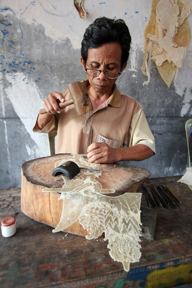 The making of Wayang Kulit puppets