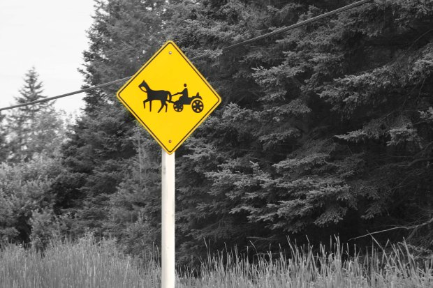 Watch for mennonites on horse and buggy sign