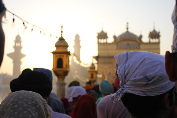 The Golden Temple in Amritsar at sunrise